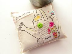 Flower Pillow Word Pillow Spring Appliqued Pillow by Itsewbella