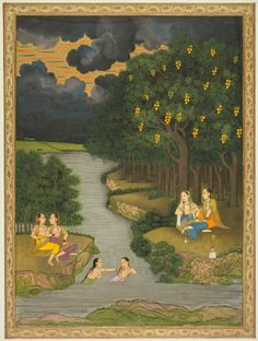 Fine Art Print-Women Enjoying the River at the Forest& Edge, c. Creator: Hunhar II Fine Art Print on Paper made in the UK Mughal Paintings, Indian Paintings, Art Indien, Les Religions, Cleveland Museum Of Art, India Art, 12 Image, Traditional Art, Traditional Paintings
