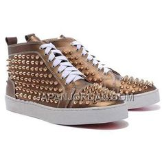 www.japanjordan.c... 割引販売 CHRISTIAN LOUBOUTIN LOUIS ゴールド SPIKES HIGH TOP SNEAKERS BRONZE Only ¥15,865 , Free Shipping!