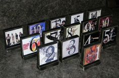 CD covers for table numbers. fun idea that can be customed to your theme