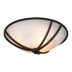 For the hallway - PLC Lighting 2-Light Ceiling Oil Rubbed Bronze Flush Mount with Marbleized Glass Shade-CLI-HD14861ORB - The Home Depot