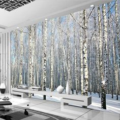 Cheap forest mural, Buy Quality wallpaper mural directly from China papel mural Suppliers: birch wallpaper mural papel mural for living room contact paper papel de parede para quarto wall papers home forest murals Wallpaper Bedroom, Wall Wallpaper, Bedroom Murals, Tree Wall Murals, Wood Wallpaper, Birches Wallpaper, Birch Tree Wallpaper, Forest Mural, Modern Wallpaper