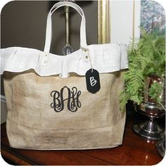 AllAboutBlanks.com Burlap Ruffled Totebag With Chalkboard Tag ready for embroidering.  Adorable!