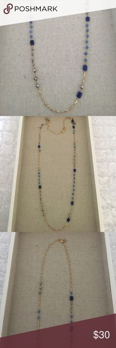 Stella and Dot blue and gold stone necklace Beautiful retired peice that can be worn single or double and layered with other necklaces Stella & Dot Jewelry Necklaces
