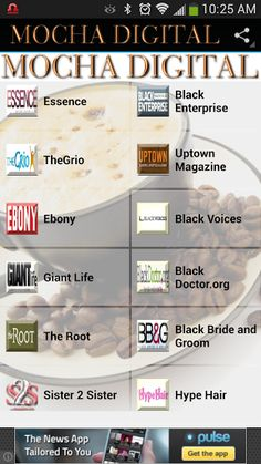 Mocha Digital Connect brings African American News & Entertainment Media to the forefront in one neatly packaged mobile app. Think of us as your mobile newstand.<p>Connect to BET, Essence Magazine, Ebony Magazine, Black Enterprise and other online destina