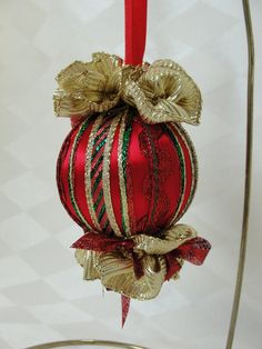 Handmade Satin Christmas Tree Ornament Classic Christmas Red, Green and Gold by Bobbyes Hobbies, $14.25