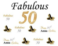 50th Birthday Step and Repeat Backdrop 50th by EventbyEunice