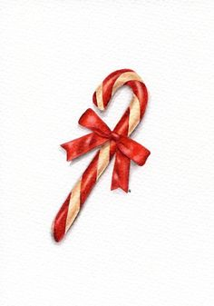 Peppermint Candy Cane - ORIGINAL Painting (Still Life, Kitchen Wall Art, Watercolour Food Illustration) 5x7
