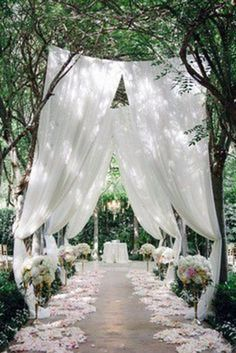 Backyard Wedding Discover Simply Elegant Rustic Wedding Table Runner Cheesecloth Table CenterpiecePhoto Back Drop New Born Wrap Events Decor Aisle Runners Wedding Aisle Outdoor, Outside Wedding, Wedding Backyard, Outdoor Weddings, Arch Ways For Weddings, Outdoor Wedding Lights, Diy Wedding Aisle Runner, Night Wedding Ceremony, Courtyard Wedding