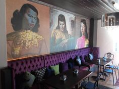 This triptych is the main feature wall at Charlie's Bistro & Bar in Port Elizabeth. Wallpaper Gallery, Wallpaper Size, Brick Wallpaper, Paper Wallpaper, Girl Wallpaper, Painting Collage, Paintings, Designer Wallpaper, Lovers Art