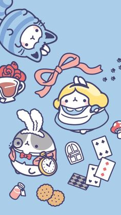 MoLice and another Wonderland Character K Wallpaper, Kawaii Wallpaper, Cute Wallpaper Backgrounds, Wallpaper Iphone Cute, Cute Animal Drawings, Kawaii Drawings, Cute Drawings, Wallpapers Kawaii, Cute Cartoon Wallpapers