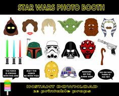 Star Wars Photo Booth Props-23 Pieces-Star Wars Masks-Yoda, Storm Trooper, Darth Vader,Princess Leia, Skywalker,Chewbacca-Instant Download