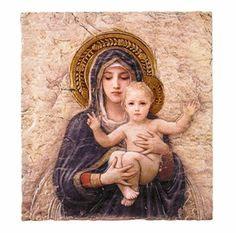 Bouguereau Madonna and Child Icon Plaque By Artist Marco Sevelli Stunning, image of the Blessed Mother and child Jesus, detailed in full color on a textured tile surface creates a new way to display t