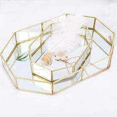 Color: transparent, gold Material: copper and glass Package includes: 1 tray Eco-friendly Dimensions: A - Length: / Width: / Height: / - Diameter: / Height: / - Length: / Width: / Height: / Wood Jewelry Display, Jewelry Display Stands, Jewelry Tray, Jewellery Display, Gold Jewelry, Jewellery Storage, Modern Decorative Accents, Decorative Items, Make Up Organiser