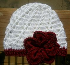 Red and White Crochet hat with Flower by KendallsKlosets on Etsy, $20.00