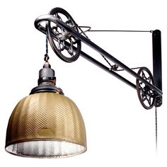 Ornate Industrial Mercury Glass Swing Arm Pulley Lamp | From a unique collection of antique and modern wall lights and sconces at http://www.1stdibs.com/furniture/lighting/sconces-wall-lights/