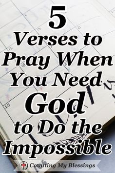 Bible Verses:The Bible says, Nothing is impossible for God. These 5 prayers will help you pray when you need Him to do what only He can do in your impossible circumstances. Prayer Scriptures, Bible Prayers, Faith Prayer, God Prayer, Prayer Quotes, Faith Quotes, Bible Quotes, Bible Verses, Healing Prayer