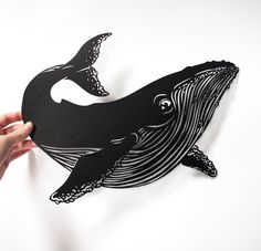Origanid Whale Papercut by Amandine Delaunay Whale Illustration, Geometric Drawing, Whale Art, Surfboard Art, Black And White Painting, Design Museum, Linocut Prints, Paper Cutting, Creative Art