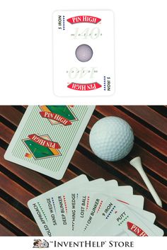 """For people who can't get enough golf, Pin High™ transports the action of the links to the card table. Pin High can be played as a single's, 3- or 4-ball match, foursomes match or """"skins"""" game. Includes a booklet, rule of play, description cards, and a list of courses. Avaiable at inventhelpstore.com."""