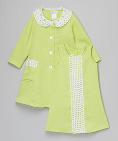 Lime Lace Dress & Swing Coat - Infant, Toddler & Girls by Gerson & Gerson #zulily #zulilyfinds