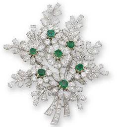 A diamond and emerald brooch,#Flower#