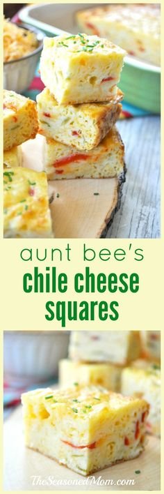 Aunt Bee's Chile Cheese Squares are easy appetizers that can be made in advance. Perfect for holiday parties!