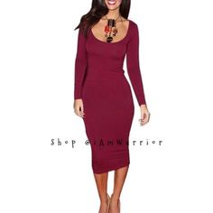 """Sexy cranberry scoop neck long sleeve dress NWOT Great little dress hugs all the right places. So versatile! Pair with sexy heels for date night or pair it with a chunky scarf, tights and boots for a more fun casual look. Sized medium but fits more like a small, 36"""" length. Listing is for dress only. Price firm unless bundled. Dresses Midi"""