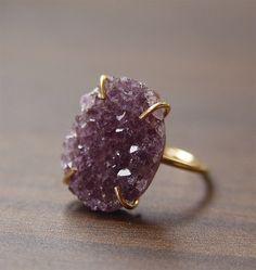 ON SALE Amethyst Crystal Druzy Ring by friedasophie on Etsy