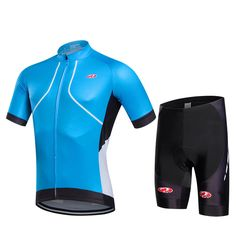 Fastcute new Mans sky blue Cycling sets cycling Jersey summer short pro sports shirt High quality Polyester Breathable Clothing #Affiliate