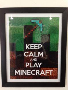 Plaquinha divertida! Keep calm and play Minecraft