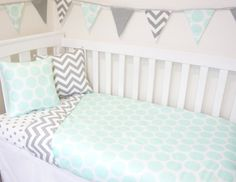 Grey and mint gender neutral nursery set by MamaAndCub on Etsy