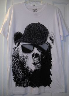 16e826e54d1 New Black Bear Wearing Sunglasses Baseball Cap Hat Hip Hop Rap Shirt~L~FREE  SHIP