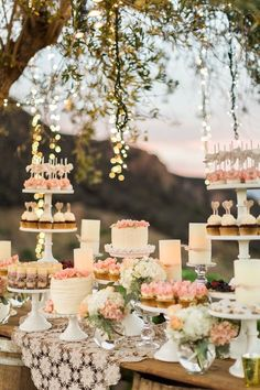68 ideas bridal shower cake table ideas dessert buffet for 2019 Candybar Wedding, Wedding Desserts, Wedding Cakes, Wedding Decorations, Wedding Dessert Buffet, Vintage Dessert Tables, Pink Dessert Tables, Wedding Cake Display, Wedding Favors