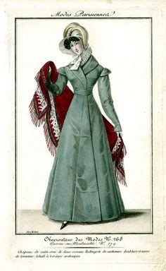 Burgundy shawl. Observateur des modes