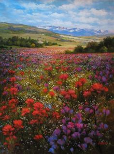 The Art of Paul Guy Gantner Alpine Meadow In Bloom