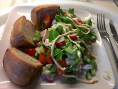 Pork pie and chopped salad