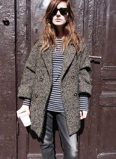 Emma Elwin. Striped tee and tweed coat