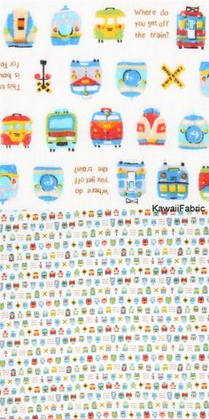 """Japanese light fabric with trains by Cosmo cottonlight delicate double-layered gauze fabricsize of the grey and blue train next to the """"Where do you get Michael Miller, Kawaii, Double Gauze Fabric, Cotton Fabric, Creme, Trains, Blue Train, Modes4u, Textiles"""