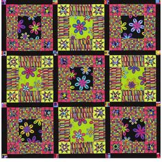 Retro Quilting Project-Blend retro prints with solid black to create this bold quilt. When making a quilt with busy prints, use a solid sashing fabric to give the eye a place to rest between blocks.