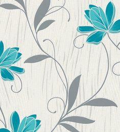 Papel pintado flores turquesas fondo rayas curvas y brillos - 1140274