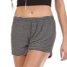 Striped Shorts...loose and flowy...CUTE Very cute black pin striped style shorts.  Elastic waist...pair with a cute crop shirt and look effortlessly cute! Super comfy! Ask any questions please, these are brand new with tags. These are NOT BRANDY... Listed for views, made in USA. Brandy Melville Shorts
