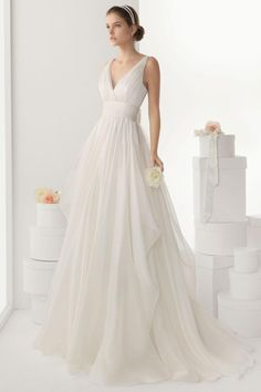 sexy-v-neck-backless-bowknot-chiffon-wedding-dress-cheap.jpg (900×1350)