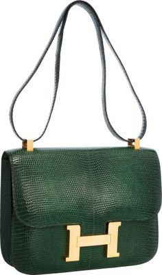 Hermes 23cm Vert Emerald Lizard Single Gusset Constance Bag withGold Hardware.