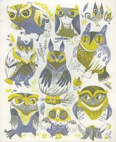 Owl pattern illustrated by Meg Hunt Art And Illustration, Illustrations, Owl Always Love You, Owl Art, Bird Feathers, Screen Printing, Character Design, Birds, Drawings