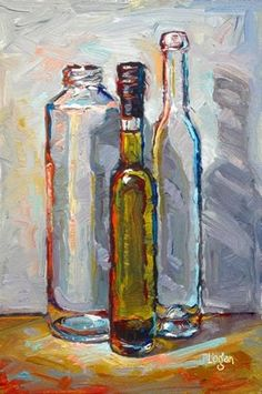 """Daily Paintworks - """"Seasoned Olive Oil and Friends"""" by Raymond Logan"""