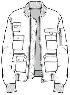 CAD illustration of jacket with several pockets. Ylime xxx CAD illustration of jacket with several pockets… Ylime xxx Fashion Sketch Template, Fashion Design Template, Fashion Pattern, Fashion Templates, Flat Drawings, Flat Sketches, Technical Drawings, Fashion Design Drawings, Fashion Sketches