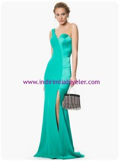 Roman yeşil uzun abiye elbise