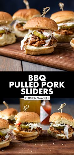 My BBQ pulled pork sliders are made with slow-roasted (slow cooker or crock pot) pork shoulder (or pork butt), doused with BBQ sauce, and topped with a simple homemade coleslaw and dill pickles. All held together by your favorite slider buns (or even Hawaiian dinner rolls). Sliders are the ultimate crowd-pleasing summer appetizer for any backyard BBQ. #pulledporksliders #slowcookerpulledpork #bbqporksliders #crockpotrecipes