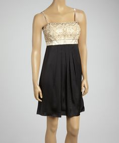 Loving this Sue Wong Creme & Black Embroidered Sleeveless Dress on #zulily! #zulilyfinds