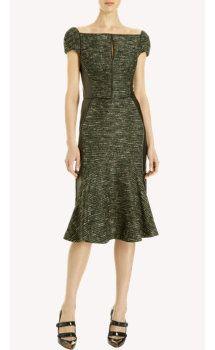 J. Mendel Tweed Flared Skirt Dress